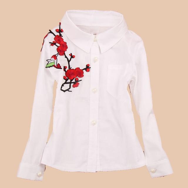 cd24a89a9 Estilo chino Blusas para Uniformes para el colegio algodón floral blanco  Camisas para Niñas niños ropa