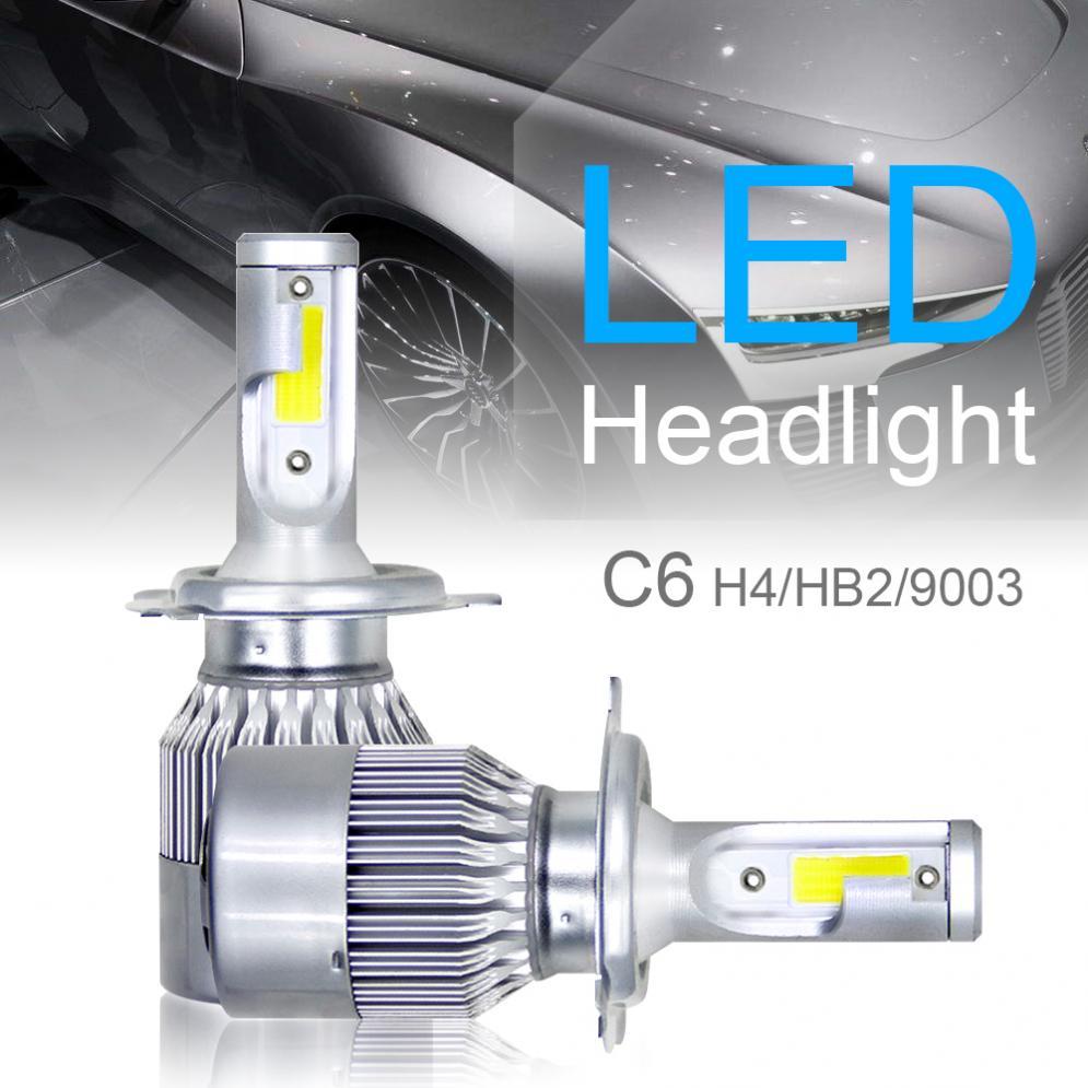 Turbo Universal Headlight Led String: 1Pair H4 / HB2 / 9003 C6 10800LM 6000K 120W COB LED Car