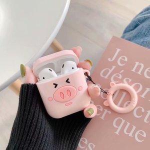 Image 3 - Чехол для наушников с защитой от потери для Apple Airpods, милый мягкий силиконовый чехол для женщин и девочек с 3D рисунком розовой свиньи для Airpods, с ремешком кольцом
