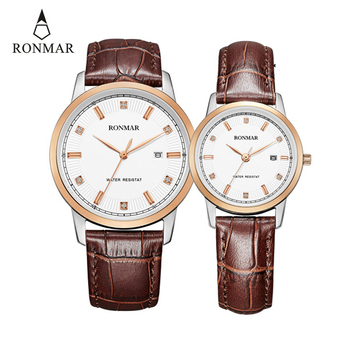 Couple Watch  Women Men Leather Strap Fashion Clock Lovers Quartz Man and Lady Luxury with Calendar RONMAR Brand Newest