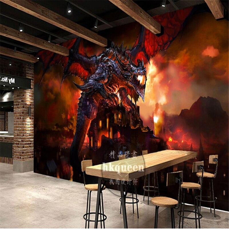 Beibehang игры красное пламя птеродактиля Динозавров обои на заказ росписи фото 3d настенные фрески обои Papel де Parede Para кварто
