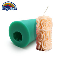 Nicole silica gel mould lz0079 three-dimensional rose cylindrical candle handmade soap candlemold