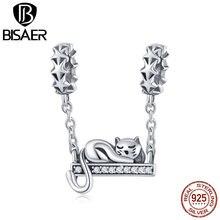 Бисаер, 925 пробы, серебро, спящий Кот, очаровательные светящиеся Звездные бусы, подходят для очаровательных браслетов, аутентичное серебро ...
