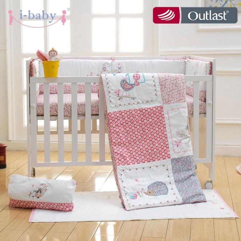 Mother & Kids New 9 Pcs Baby Crib Bedding Set Flower Castle Baby Bedding Set Cartoon Quilt Crib Bumper Sheet Skirt Literie Pour Berceau Baby Bedding