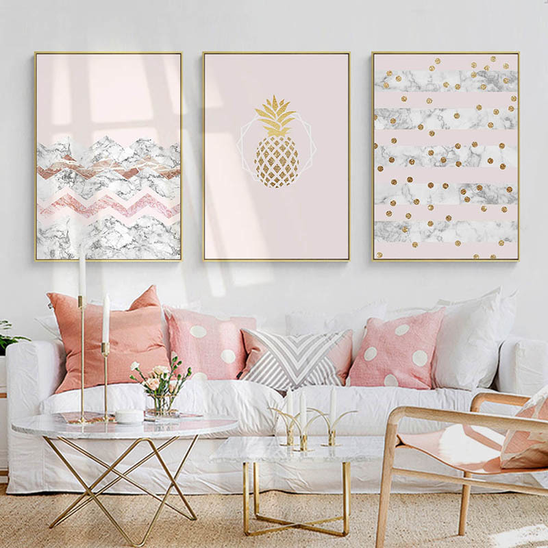 Golden Pineapple Marble Wall Art Posters Nordic Style Prints Abstract Painting
