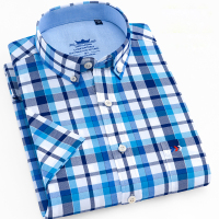 Men's Regular Fit Short Sleeve Button Down Shirt Patch Single Chest Pocket Cotton Summer Casual Solid/Plaid/Striped Dress Shirts