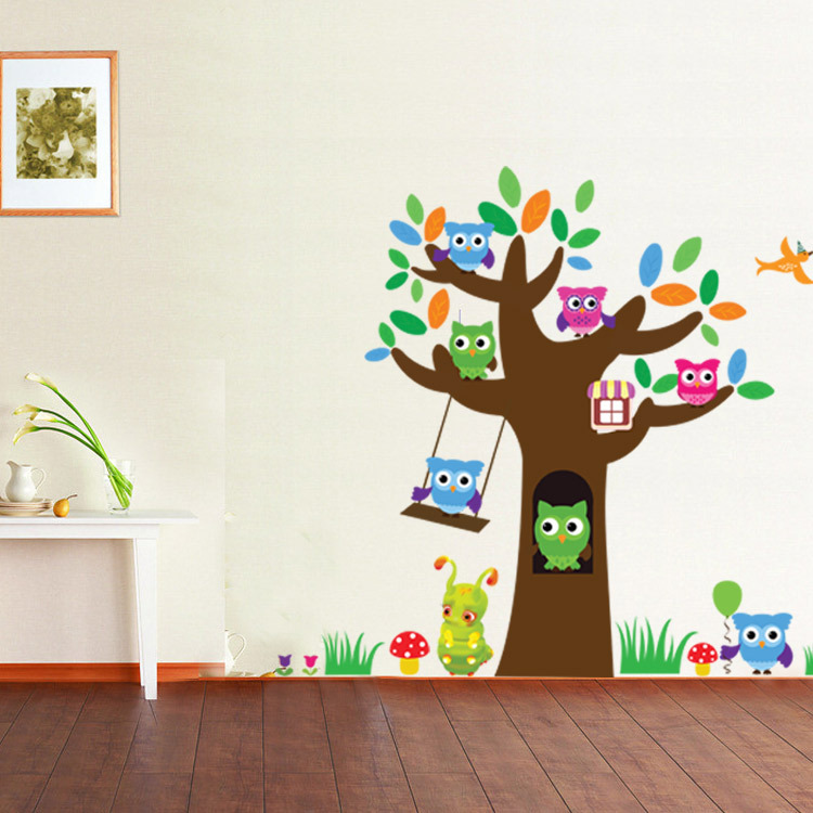 Us 6 59 Owl Tree Mushroom Wall Sticker Kindergarten Children S Room Decoration Stickers Personality Remove Pvc Mural Art Home Decor In