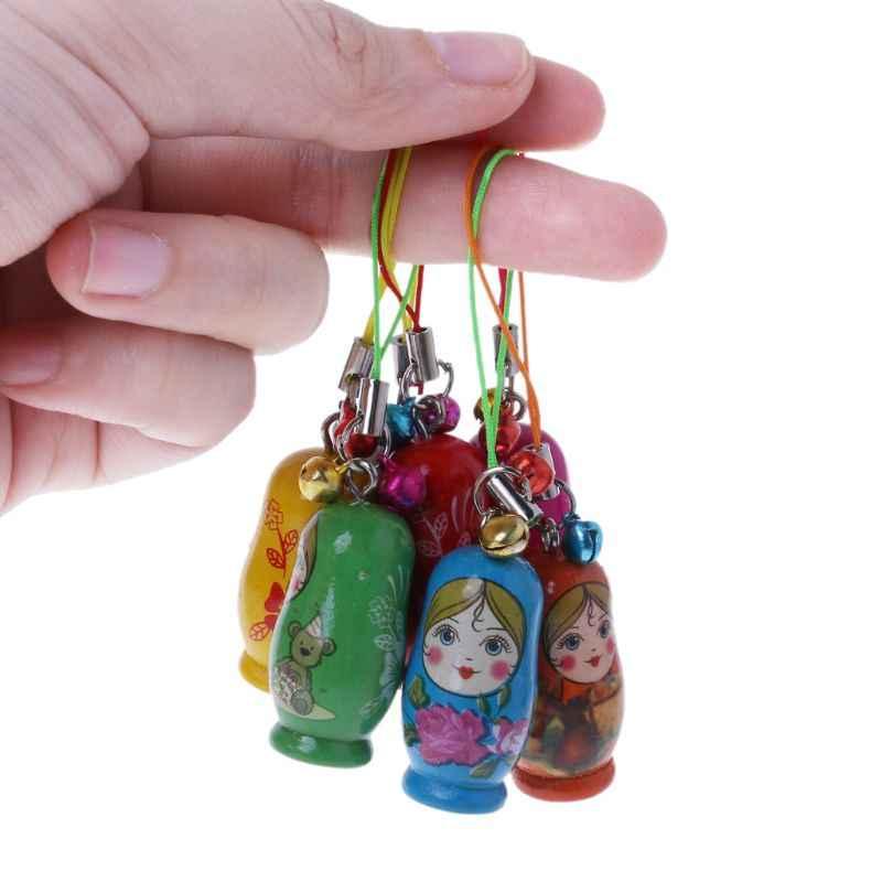 Tradicional russo aninhamento bonecas matryoshka boneca conjunto chaveiro telefone cabide saco presente pintado artesanal lembrança brinquedos para crianças