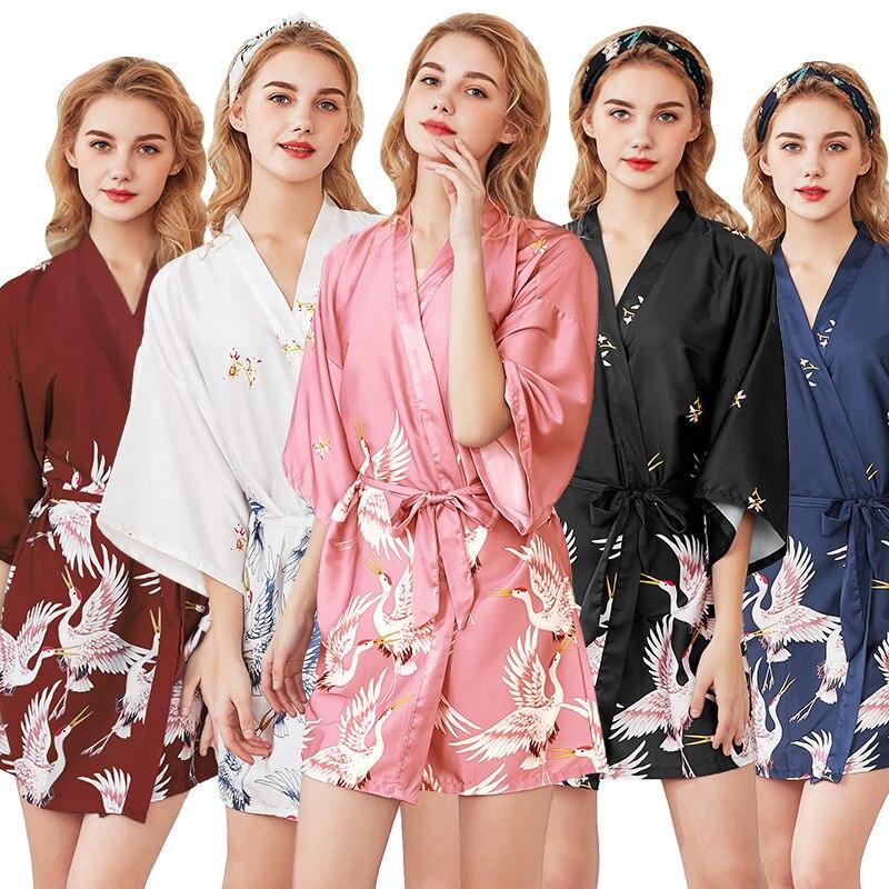 4c98aad58462eb Sexy Lady Satin Mini koszula nocna bielizna nocna chińskich kobiet jesień  Rayon Robe sukienka suknia Kimono Yukata salon nocna piżamy M-XXL