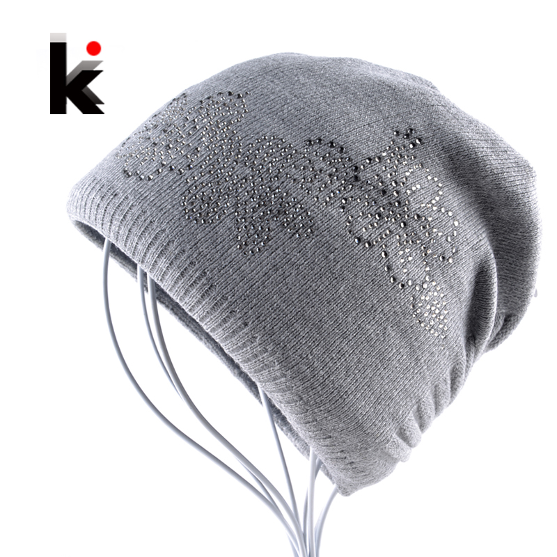 Winter Ladies Knit Hats For Women Beanies Hat Flower Diamond Beanie Brand Touca Knitted Cap Balaclava Caps Bonnet Hats