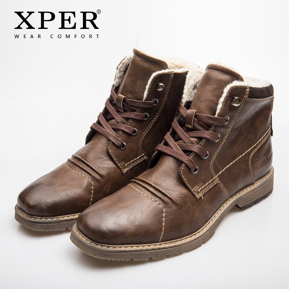 XPER бренд 2018 ботинки Rome Для мужчин теплые зимние сапоги Водонепроницаемый на шнуровке мотоботы кожаные обувь ручной работы молния # XHY14002BR