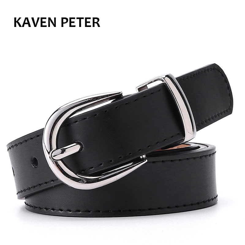 Luxury Women 2.5cm Alloy Nail Buckle Belt Double Loop Genuine Leather Belt Dress