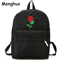 Men Canvas Backpack Cute Fashion Women Rose Embroidery Backpacks For Teenagers Women S Travel Bags Mochilas