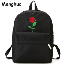 Men Heart Canvas Backpack Cute Women Rose Embroidery Backpacks for Teenagers Women's Travel Bags Mochilas Rucksack School Bags