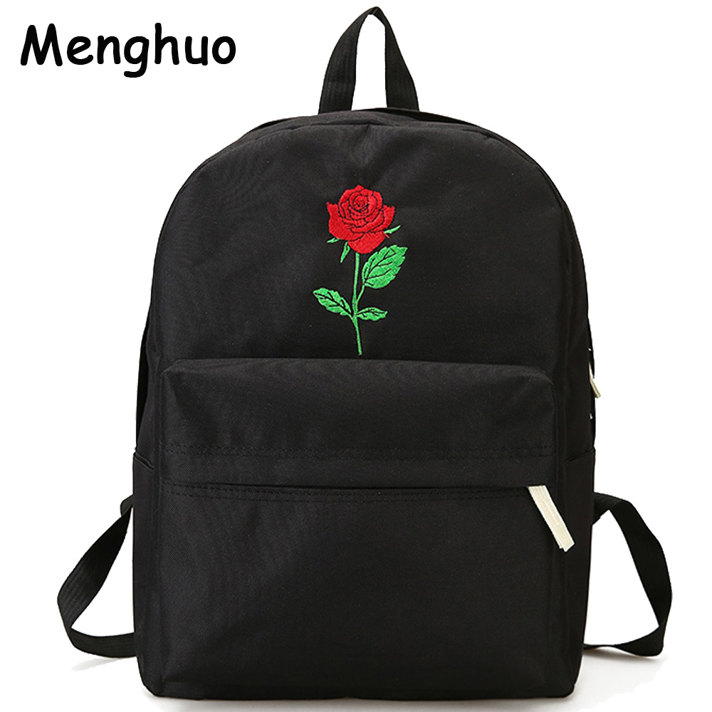Menghuo Men Heart Canvas Backpack Women School Bag Backpack Rose Embroidery Backpacks for Teenagers Women's Travel Bags Mochilas day and night embroidery lovers backpacks canvas men women school bag for teenagers student book bags casual sport back pack