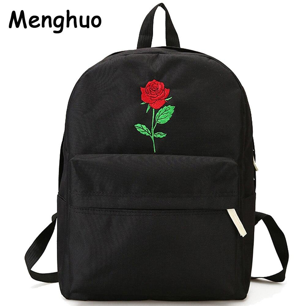 Menghuo hombres corazón lienzo mochila mujeres escuela mochila Rosa bordado Mochilas para adolescentes bolsas de viaje de las mujeres Mochilas
