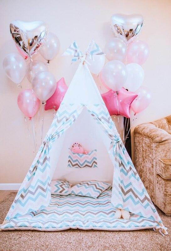 Laeacco rose ballons tente Wigwam anniversaire fête tapis bébé Portrait photographie toile de fond fonds photographiques Photo Studio