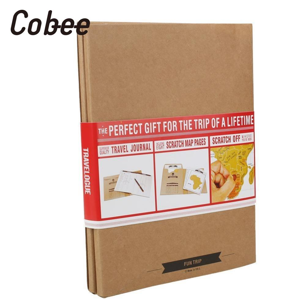 Cobee Travelogue Scratch World Map Travel Tips Book Journal Log Notebook Tourist Gift map maze book