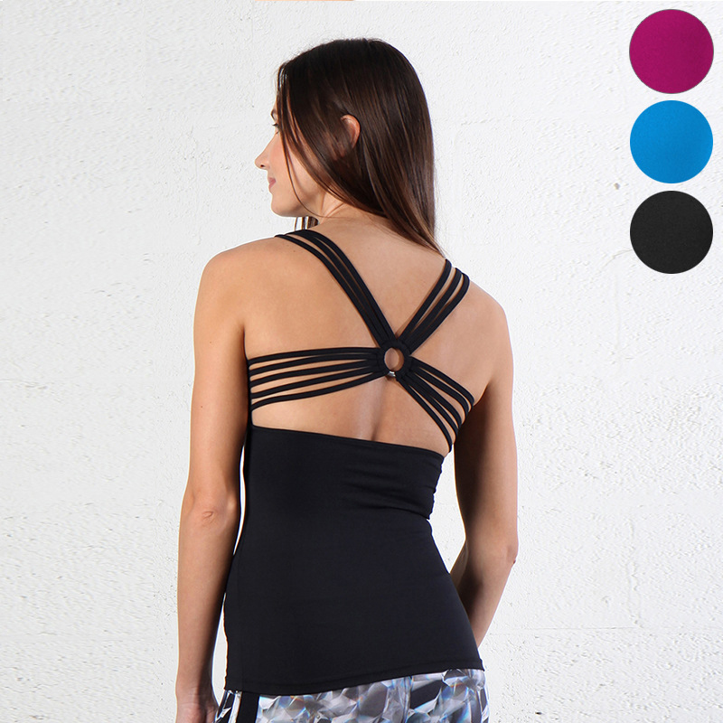 Woman cross criss strappy back bodycon cami tops quick-dry u colloar tunic top for yoga workout and fitness
