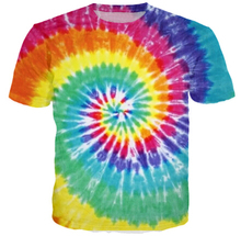 2015 Fashion Handmade Tie dye 3D T shirt Men Camisa Masculina Harajuku Mens Tshirt Short Sleeve Top Neon Rainbow Colorful Shirt