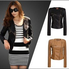 Free shipping 2014 women's slim PU short outerwear,female shortmotorcycle pu leather jacket, lady faux leather small jacket 1654