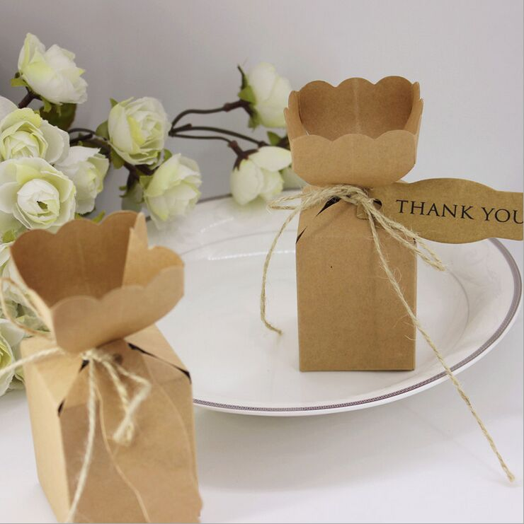 50pcs Kraft Paper Vase Flower Candy Chocolate Box With Thank You Tag