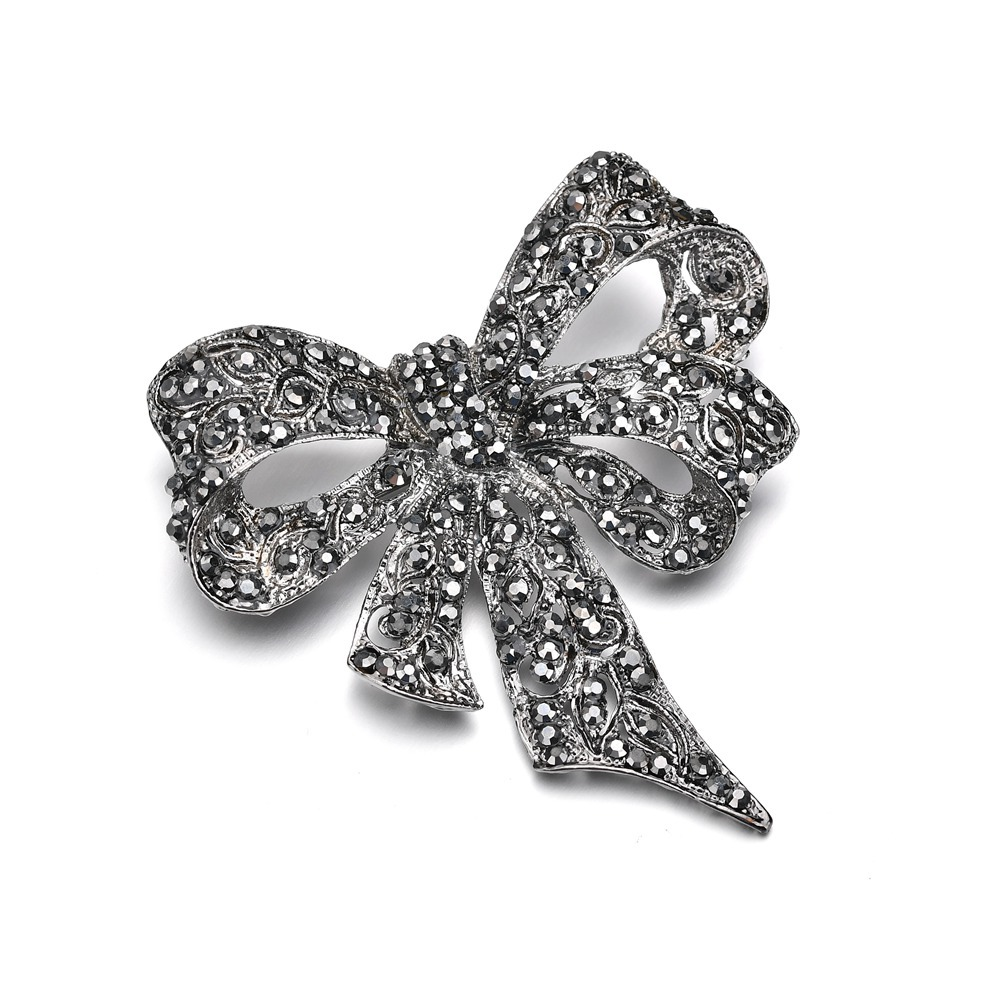 2018 New Women Vintage Bowknot Brooches Jewelry Black