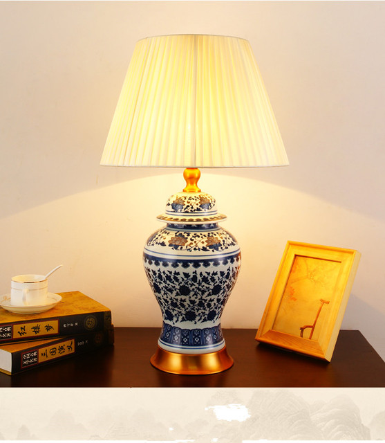 US $239.8 |Art Chinese porcelain ceramic table lamp bedroom living room  wedding table lamp Jingdezhen night table lamp for bedroom-in Table Lamps  from ...