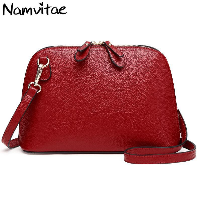 Namvitae Brand Genuine Leather Women Messenger Bag High Quality Cow Leather Small Crossbody Shell Bag Women Fashion Shoulder Bag suds brand genuine leather 2018 fashion women small shoulder bag high quality cow leather women messenger bag crossbody flap bag