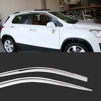 1 Set Brand New Chrome Side Vent Sun Shade Window Visors Rain Guard Deflectors For Chevrolet Trax 2014 2018