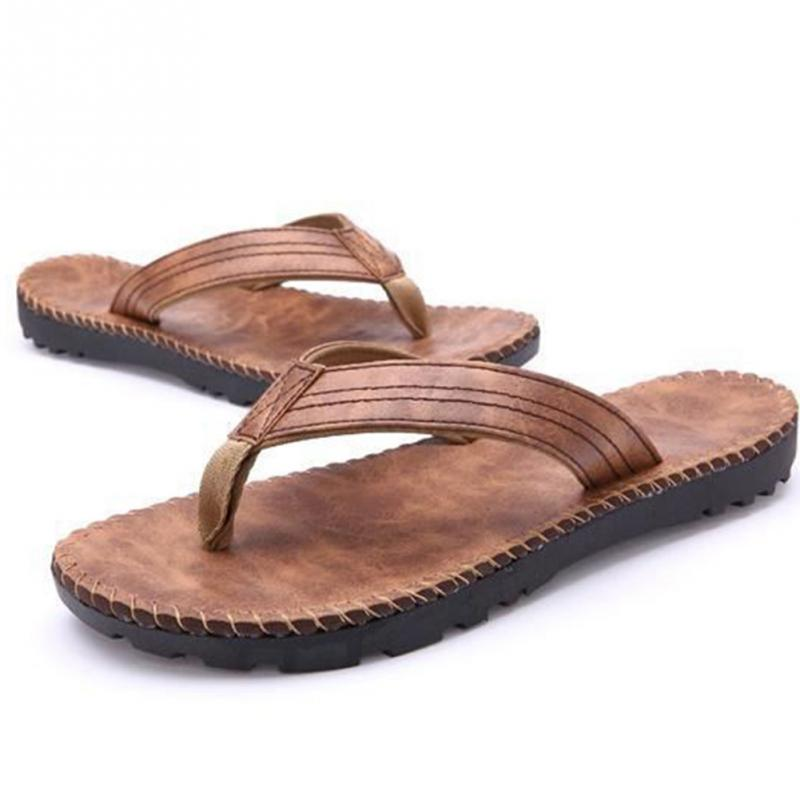 ea4b755b5 Hot Selling Summer Cool Men PU Leather Flip Flops British Style Boardered  Beach Sandals Male Slippers Zapatos Hombre-in Flip Flops from Shoes on ...