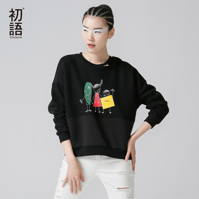 Toyouth New Arrival Women Cotton Cartoon Printed Pullovers Sweatshirts Autumn Patchwork O-Neck Sweatshirts