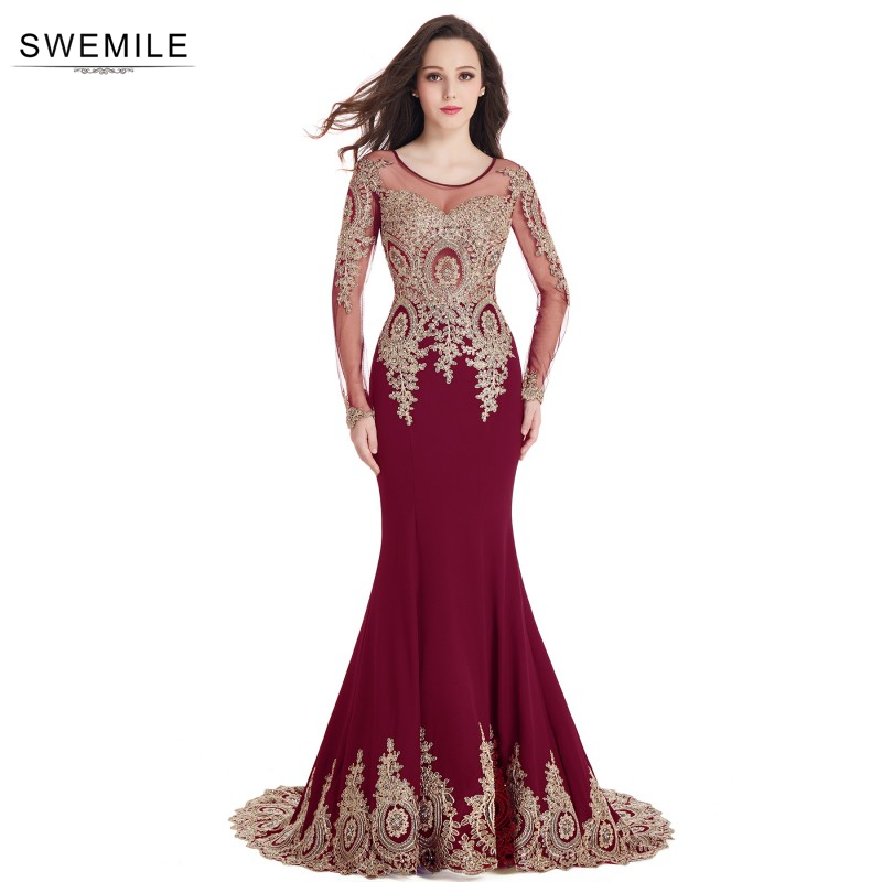Swemile Mermaid Lace Long Sleeve   Evening     Dresses   Satin Appliques Beaded Court Train   Evening   Gowns Robe De Soiree Longue