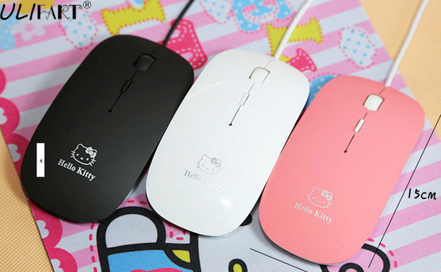 dad111bd1 ULIFART New Wired Kitty Optical Mouse Cute Mini Mice USB 2.0 3D Computer  Gamer Mause Mouses