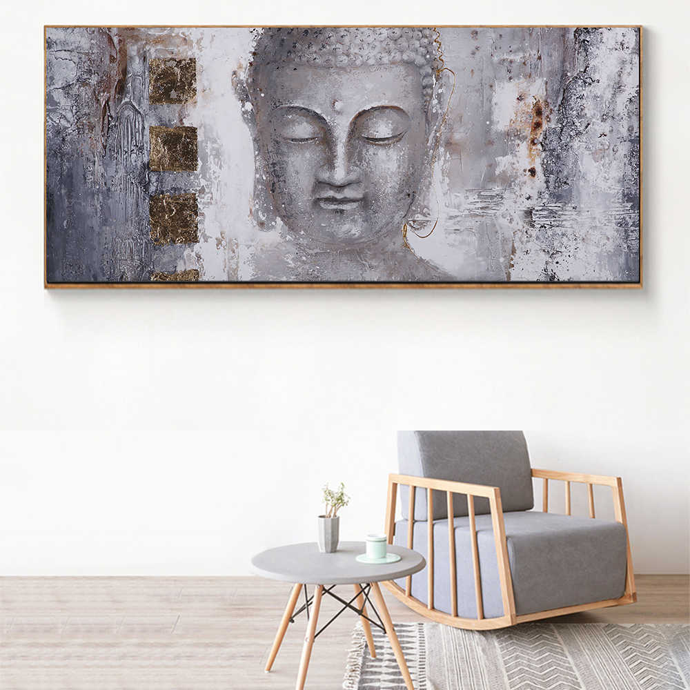 WANGART Large Size Buddha Zen Wall Art Pictures Canvas Paintings Print  Poster Oil Painting For Living Room Home Decor