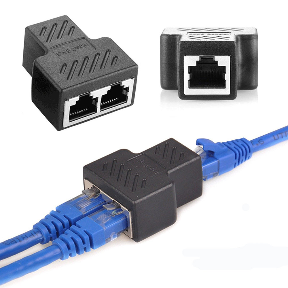 RJ45 Ethernet LAN Network Splitter Double Adapter Ports Coupler Connector 1 To 2 Ways LAN Ethernet Network Cable