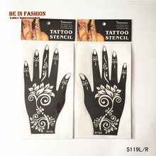 1pair Henna Tattoo Stencils Airbrush Stencil Glitter Body Art Professional Kit Face Hand Tattoos Templates Lace Rose Flower Lotu