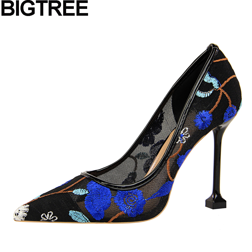 BIGTREE Women High Heels Pointy Toe Floral Embroidered Lace Pumps Mesh Cut  Out Summer Spring Shoes Stilettos Party Clubwear ae9c93f134c2