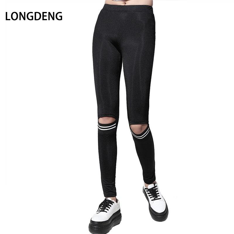 [Longdeng] 2018 Новая мода Повседневное сплошной черный середине талии с отверстием высокие эластичные тонкие Леггинсы для женщин для Для женщин ...