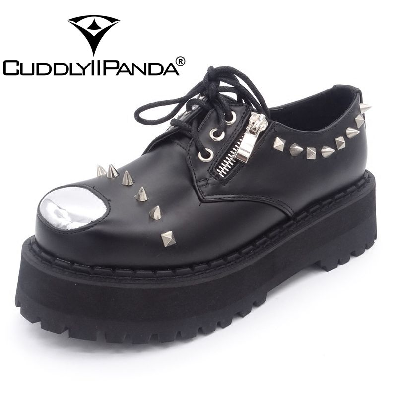 CUDDLYIIPANDA Women Fashion Punk Style Shoes Autumn Spring Rivet Black Cool Shoes Women Lace-Up Top Quality Bling Shoes