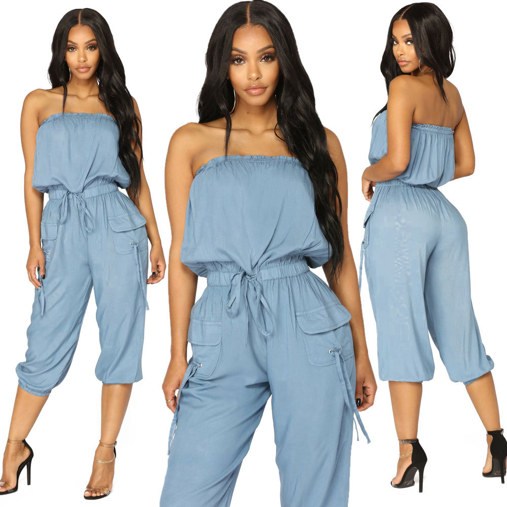 Summer 2018 Women Party Casual Comfort Denim Jeans Off Shoulder Sleeveless Rompers Female Club Jumpsuits Overalls Hot OSM-QJ5120