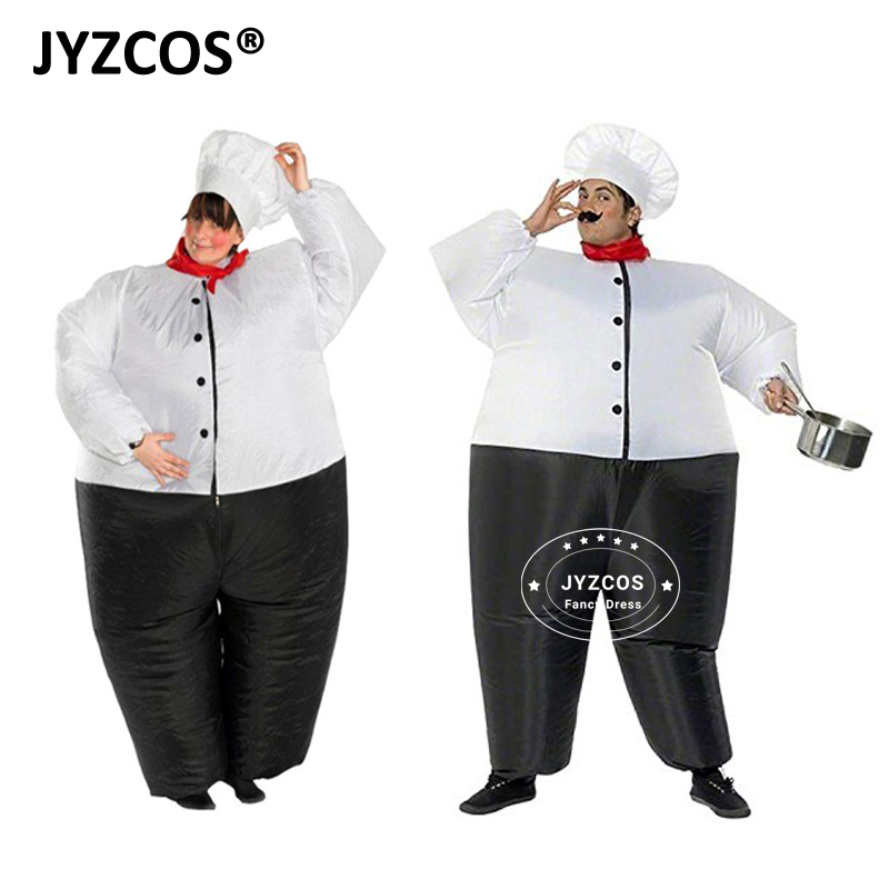 JYZCOS Inflatable Costume Big Chef Cook Restaurant Purim Halloween Carnival Party Cosplay Fancy Dress Up Women Men Adult outfits