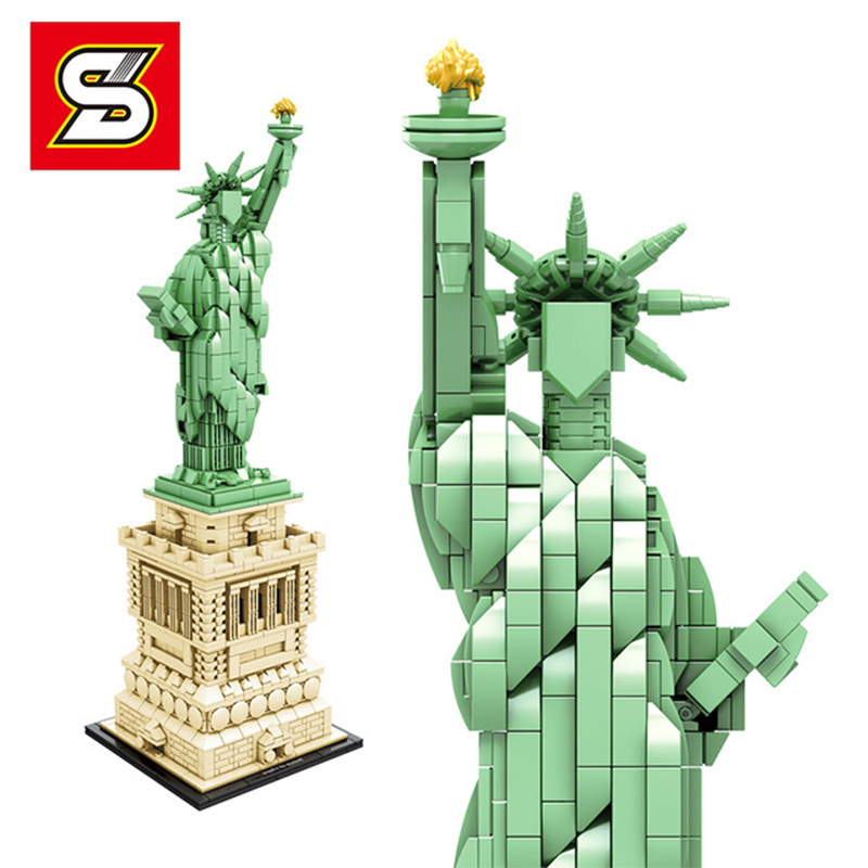 Statue Of Liberty World Famous Architecture Series The 21042 Model Building Blocks Bricks Toys For Kids Gift 17011