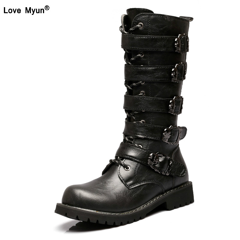 Mid-Calf Motorcycle Men Boots PU Leather Skull Winter Shoes Male Botas Hombre High top Men Shoes Plus Size 45 778