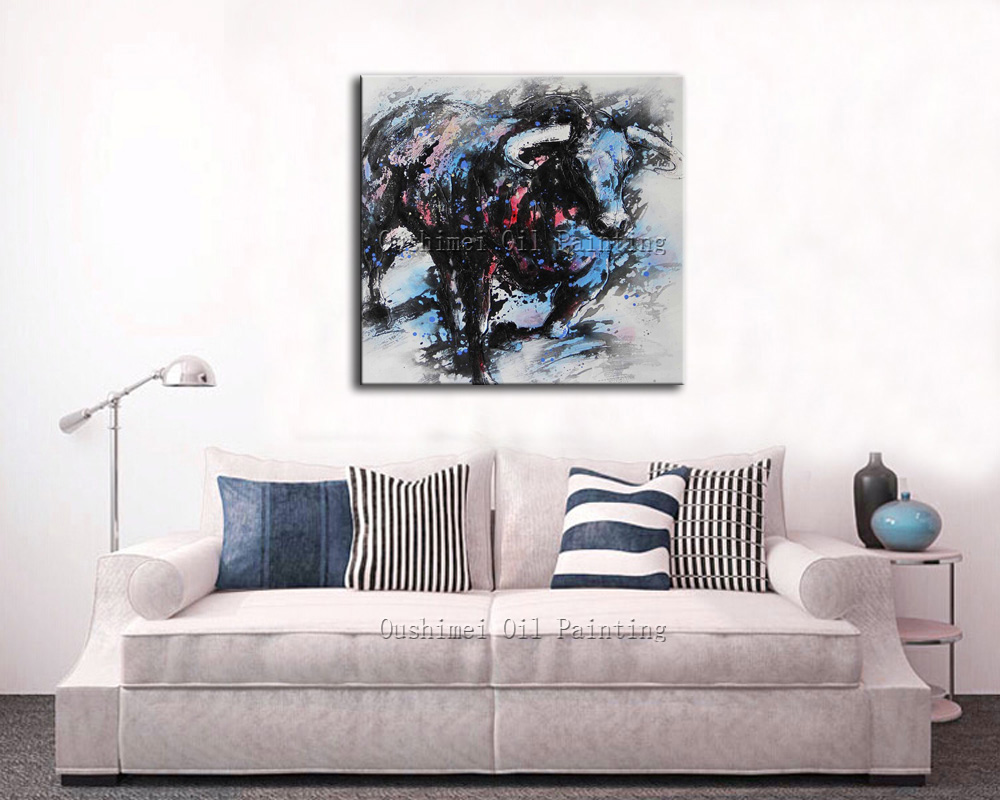 Hand Painted Abstract Animal Oil Painting Bull Paintings Modern ...