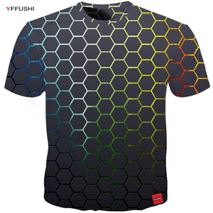 Image 2 - YFFUSHI Plus Size 5XL Male 3d t shirt Fashion Summer T shirt Top Dress Cool Plaid diamond 3d Hip Hop t shirts Fashion