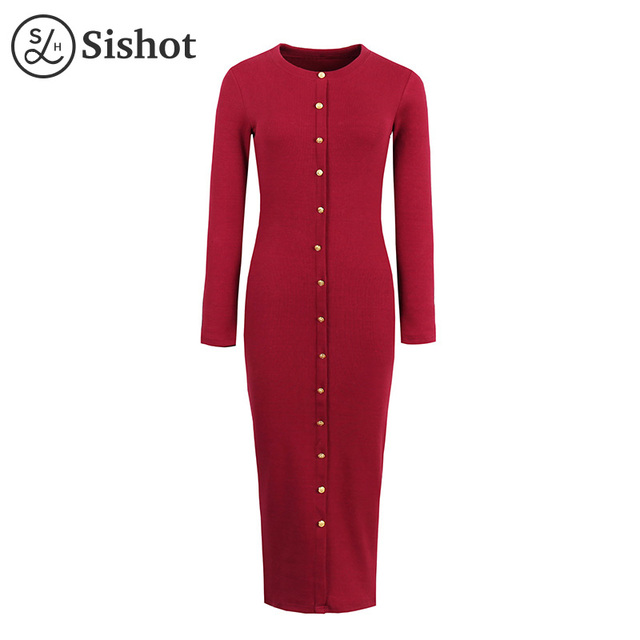 Sishot women casual dresses 2017 summer burgundy mid calf long sleeve dark gray round neck button black casual bodycon dress