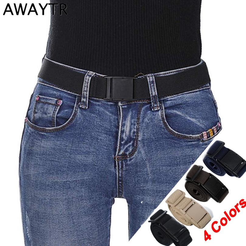 AWAYTR Women Invisible Belt Elastic Adjustable Belt For Jeans Men's Automatic Buckle Belt Canvas Elastic Waist Belt Waistband