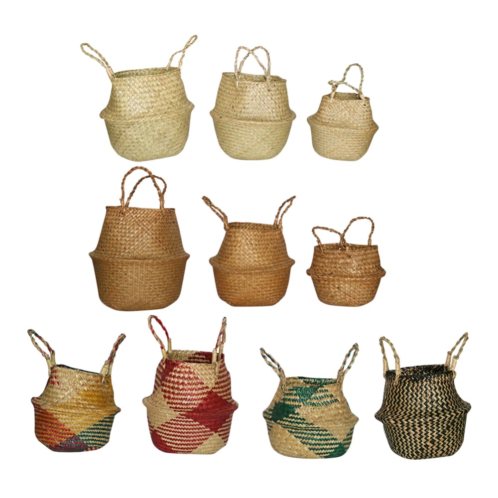 Handmade Seagrass Storage Baskets Foldable Woven Storage Pot Belly Basket Garden Flower Pot Planting Hanging Basket 1 Pcs