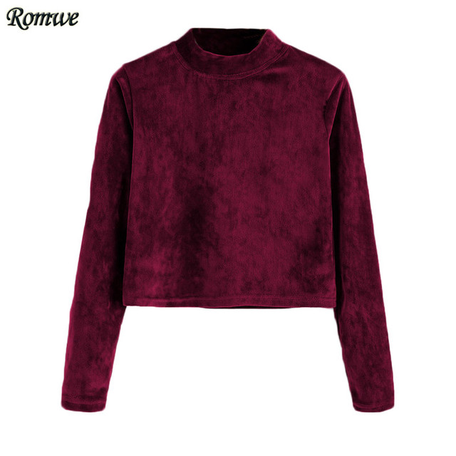 ROMWE Long Sleeve Crop Top Women Tops and Tees Woman's Fashion 2017 Crop Tops Spring Burgundy Velvet High Neck T-shirt